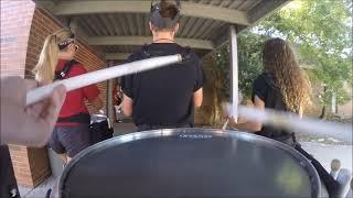 Tate High School Drumline | Marching Cadence Through Halls | 9-17-15