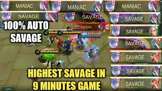 HIGHEST SAVAGE IN 9 MINUTES   100% AUTO SAVAGE   MOBILE LEGENDS