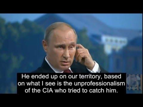 Putin on Edward Snowden; takes a dig on America