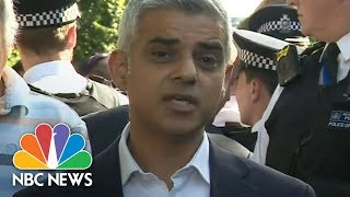 Angry Locals Interrupt London Mayor Sadiq Khan At Scene Of High-Rise Fire   NBC News