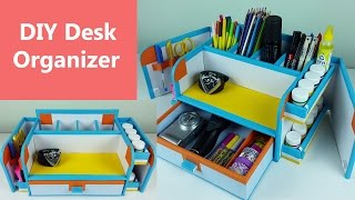 A stylish and compact DIY desk organizer/ drawer organizer out of cardboard.