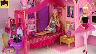 Rutina de Mañana con Barbie Bailarina de Ballet en Su Dormitorio de Princesa