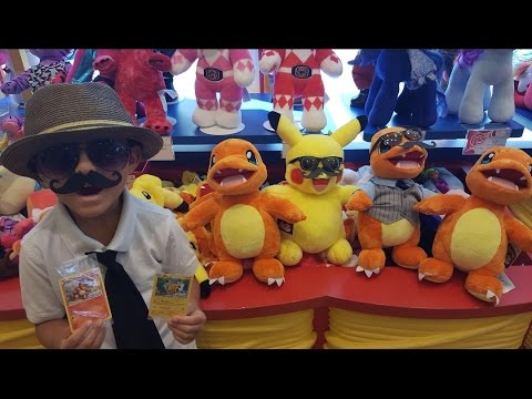 CARL Makes A PIKACHU And CHARMANDER Build A Bear Exclusive Pokemon Cards Fashion Show at Disney