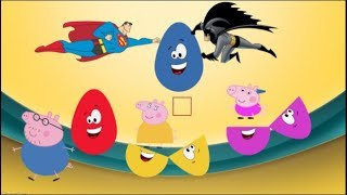 Learn Colors Surprise Eggs Peppa Pig or Flying Spiderman and Batman