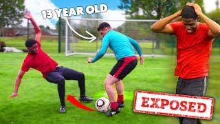 This KID FOOTBALLER Exposed Me In A Football Challenge..