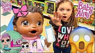BABY ALIVE goes to TOYS R US! The Lilly and Mommy Show. The TOYTASTIC Sisters. FUNNY SKIT