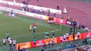 Roma-Juve, gol di Pjanic su punizione