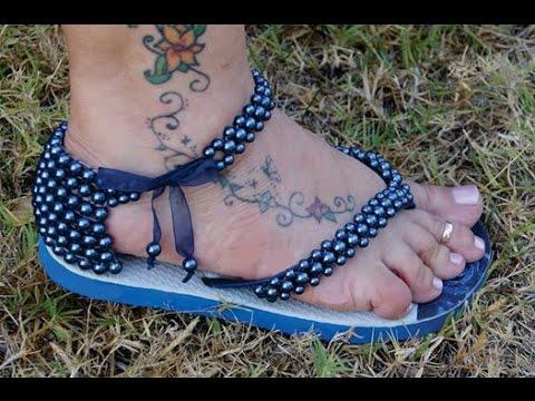 Como fazer sandália de perola em chinelo customizado
