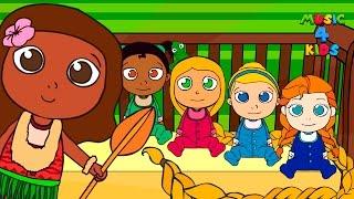 🌟 FIVE LITTLE BABIES 🌟 Moana, Rapunzel, Frozen, Tiana, Cinderella | Nursery Rhymes