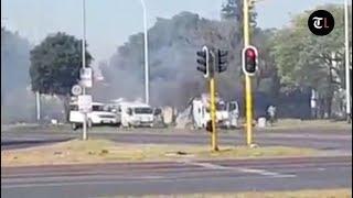 Two cash in transit vans bombed in Boksburg heist
