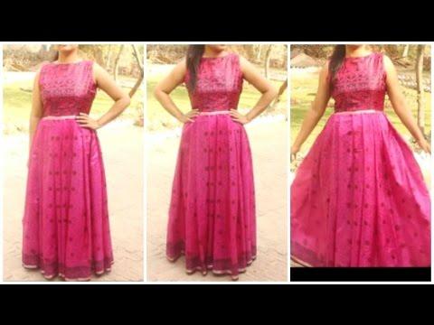 Convert Old Saree Into Long Gown Dress   DIY