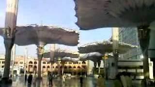 Umbrellas of the Prophet's Masjid in Madinah the Illumined.