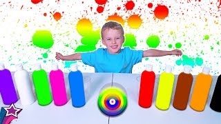 Learn Colors For Kids Paints and Cups The wheels on the bus Nursery Rhymes For Children Songs ABC