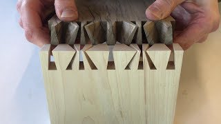 Hand cut Japanese dovetail joint. Made by Theo Cook