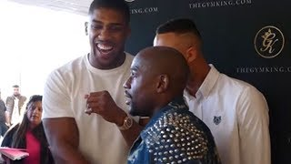 FLOYD MAYWEATHER JABS AMIR KHAN AND ANTHONY JOSHUA BUSTS OUT LAUGHING