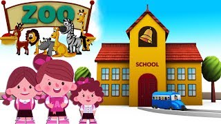 zoo at school for children - wild animals - Animals for kids - toy animals - choo choo train - Zoo