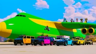 Emergency Cars Transportation on Biggest Airplane - Learn Colors Nursery Rhymes 3D Animation
