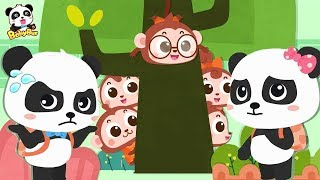 Baby Panda's Looking for Five Little Monkeys   Number Song, Learn Colors   Toddler Song   BabyBus