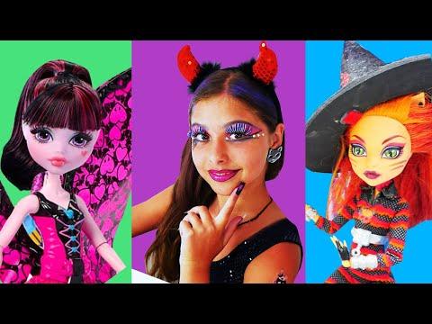 Drakulaura #MonsterHigh partisine gidiyor. Polen'le Monster High makyajı. Kız makyaj oyunu