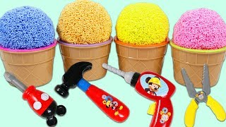 Play Foam Surprise Cups Opening with Disney Mickey Mouse Mousekadoer Pretend Tools!