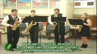 Marlington Local Schools Entertains With Saxophone Quintet at the February 16, 2017 BOE Meeting