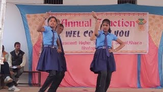 Government school girls stage dance in group.