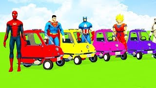 SUPERHEROES SMALL CARS Transportation Learn Colors with Spiderman Songs Cartoon for Kids & Children