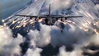 AC-130 Gunship Fires Anti-Missile Flares