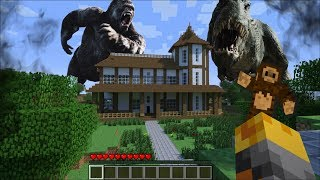 GIANT KING KONG APPEARS IN MY HOUSE IN MINECRAFT !! Minecraft Mods