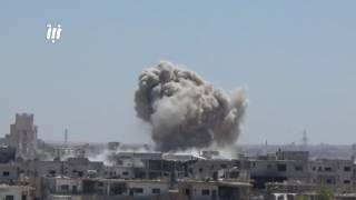 قصف جوي وصاروخي عنيف من قوات النظام على حي طريق السد ومخيم درعا 12_6_2017