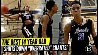 "14 Year Old Emoni Bates DOMINATING vs Varsity Basketball | Shuts Down ""OVERRATED"" Chants!!"