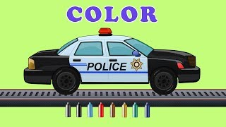 Kids TV Channel | Police Car |  Learn Colors with Emergency Vehicles | Coloring Song For Kids