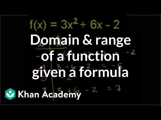 Domain and range of a function given a formula | Algebra II | Khan Academy