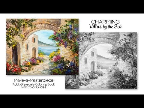 Charming Villas by the Sea ~ Adult Grayscale Coloring Book with Color Guides