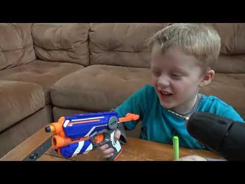 Nerf Guns Vs Wild Lizard Crazy Lizard Toy Runs Wild and the Boys take Action with Nerf Guns