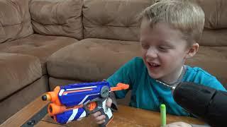 Nerf Guns Vs  Wild Lizard! Crazy Lizard Toy Runs Wild and the Boys take Action with Nerf Guns!