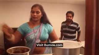 Tamil house wife blue saree blouse masala