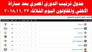 جدول ترتيب الدوري المصري بعد مباراة الأهلي والمقاولون العرب اليوم الثلاثاء 27-11-2018