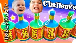 Party POPPER Challenge! Streamers + Surprise Toys. Disney 'n' Garbage Pail Kids HobbyKidsTV