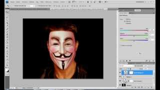 Photoshop Yüz Üstüne V For Vendetta Maskesi Yerleştirme / Fake V For Vendetta Mask Create