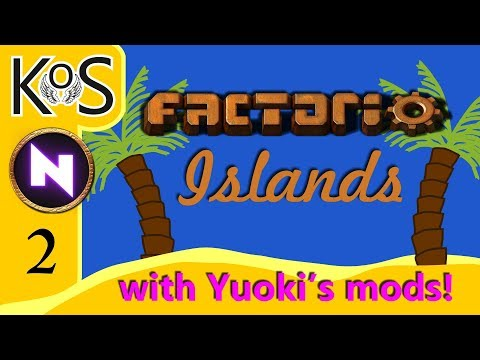 Factorio Islands! Ep 2: KoS STARTER BASE MINIMALL - Yuoki modded coop MP Gameplay, Let's Play