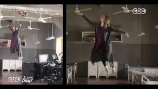شاهد كواليس تصوير مشهد طيران نيللي كريم في مسلسل سقوط حر