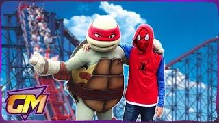 Spiderman at Blackpool Pleasure Beach! - Fun Kids Vlog with Ninja Turtles!