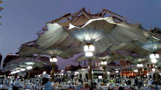 High-Tech Giant Umbrellas - Opening Scene - Live Masjid al-Nabi in Madina Saudi Arabia
