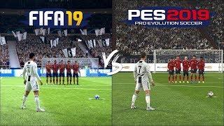 Fifa 2019 Vs Pes 2019🔥  تحدي الضربات الحرة 🔥 بيس 2019 ضد فيفا 19 من الافضل ؟ 🔥
