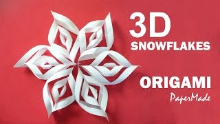 How to make Beautiful 3D SnowFlakes Origami   Very Easy Tutorial   DIY   PaperMade