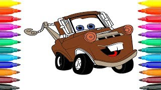 How To Coloring Cars 3 Tow Mater Coloring Pages How To Paint Cars 3 Tow Mater Funny Coloring Book