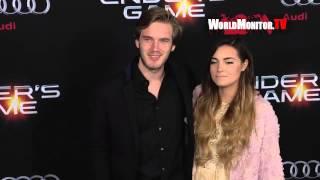 PewDiePie 'Felix Kjellberg' and girlfriend Marzia Bisognin at Ender's Game LA premiere