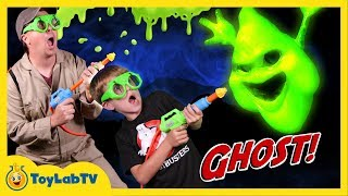 GET SLIMED! Ghost Chaser vs Messy Slime Ghosts & T-Rex Dinosaur w/ Toys in Real Life Fun Kids Video