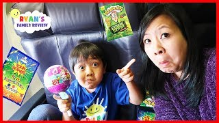 Kid on the Airplane Sour Candy and Surprise Toys Pikmi Pop Opening with Ryan